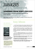 Learning from Sony's success