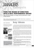 Turn the board of directors into a real performance driver