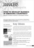 How to develop business in emerging countries?